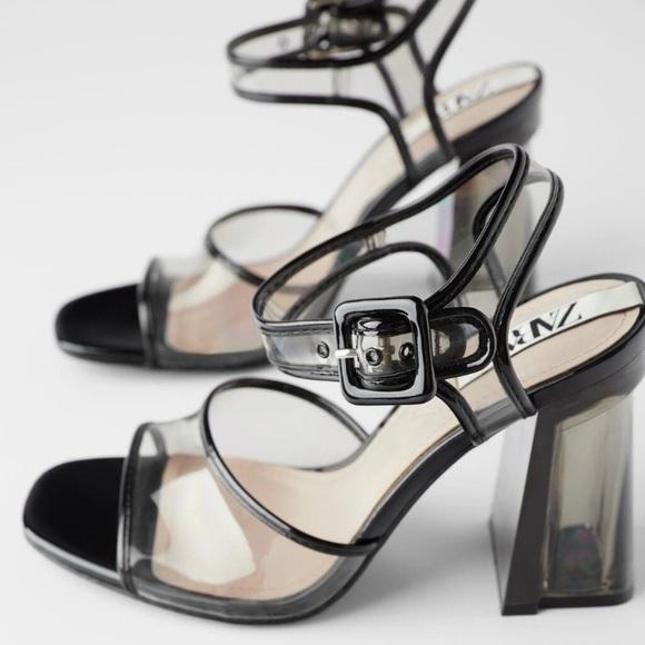 Zara methacrylate and vinyl high heel sandal size 8
